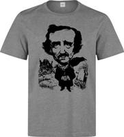 impresiones de obras de arte famosas al por mayor-Edgar Allan Poe Famous Writer Black Artwork hombres camiseta gris Impreso Estilo de Verano Tees Hombre Top Fitness Marca de ropa