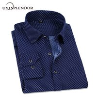 Wholesale men high fashion dress clothes - 2018 Spring Polka And Solid Man Casual Shirts Classic Men Dress Shirt Long Sleeve High Quality Fashion Clothes For Male Yn10038