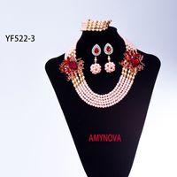Wholesale african beaded earrings - Cute pink 5 row necklace jewelry set African Beaded Jewelry Set Nigerian Wedding Crystal Beads Necklace Bracelet earrings Set