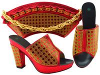 schöne rote handtaschen großhandel-Nette schauende rote wemon Pumpen mit Rhinestone afrikanischen Schuhabgleichhandtasche stellten für Kleid MM1069, Ferse 9.5CM ein