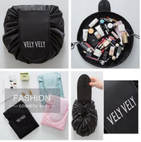 Wholesale Cartoon Drawstring Pouch - HOT Vely vely Lazy makeup bags mini cosmetic bags portable Large Capacity Organizer Storage travel Portable Drawstring wash magic Pouch bag