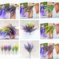 lavanta çiçek bahçeleri toptan satış-5 Stilleri Artificia Dekorasyon Çiçekler Romantik Provence Lavanta Sahte Ipek Çiçekler Düğün Ev Favor Simülasyon Bahçe Buket I260
