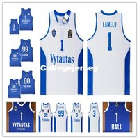 Wholesale Ball Stops - Wholesale Custom LaMelo Ball #1 LiAngelo Ball #3 Lithuania Vytautas #99 LaVar Ball Basketball Jersey Stitched Mens White Blue jerseys