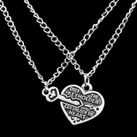 Wholesale locking heart necklace - Ancient Silver Heart Lock Pendant Necklaces The Keyholder Can Unlock my Heart Lovers Best Friend Necklace for Women Men drop ship 161756