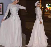 robe mousseline musulmane moderne achat en gros de-Blanc moderne à manches longues robes de soirée musulmanes 2018 avec paillettes Appliques en mousseline de soie perlée formelle robes de soirée de bal sur mesure