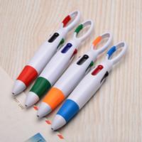 Wholesale red promotional plastic pens resale online - New Promotional good quality ink plastic ballpoint pen colourfull rubber pen gift carabiner hook ball pen print with custom logo