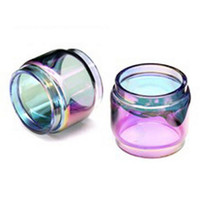 Wholesale pyrex color glass tube - Fat Extended Pyrex Expansion Bulb Rainbow Color Replacement Glass Tube for TFV12 Prince E cig Vape Atomizer Tank Ecig Vapor Accessories DHL