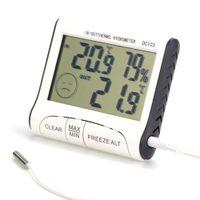 higrómetro de termómetro digital de interior al aire libre de lcd al por mayor-Uso Doméstico DC103 LCD Digtal Display Termómetro Estación Meteorológica Temperatura de Humedad Higrómetro Interior de Interior para el Hogar AAA739