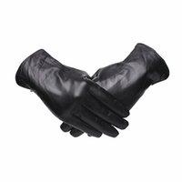 ingrosso guanti di moda invernali in pelle nera-Gours Genuine Guanti in pelle per uomo Fashion Brand Black Goatskin Finger Button Gloves Guida calda in inverno spesso Nuovo GSM044