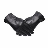 кожанные кожаные перчатки оптовых-Gours Genuine Leather Gloves for Men Fashion  Black Goatskin Finger Button Gloves Driving Warm In Thick Winter New GSM044