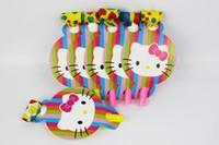 temas de fiestas de gatitos al por mayor-12 unids / pack Holle Kitty Tema Niño Fiesta de Cumpleaños de Papel Soplo de Fiesta de Suministros de Decoración