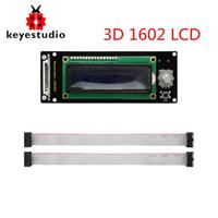 ingrosso stampante arduino-Keyestudio Display LCD1602 Modulo 3D con slot per scheda SD + cavo da 30 cm per stampante Arduino / 3D