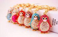 Wholesale penguin keychains - 6 Colors Penguin Keychains Keyring - Crystal Rhinestone Women Keychain Key Chain Ring Holder Bag Charm Keyring Jewelry Wedding Favor