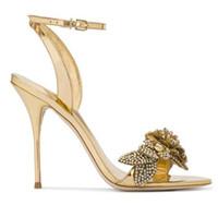 çiçek düğün ayakkabıları topuklu ayakkabı toptan satış-Chic Ipek Saten Temizle Kristal Düğün Ayakkabı Gelin Ayak Bileği Kayışı Taklidi Kadın Sandalet Çiçek Yüksek Stiletto Topuk Yaz Sandalet