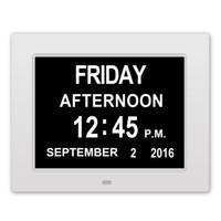 часы календарного дня оптовых-Фоторамка Цифровые настольные часы со светодиодной подсветкой Большой будильник Календарь Большой дисплей дня и даты с нарушением работы - 8 дюймов 8 языков