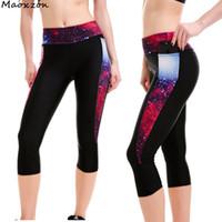 Wholesale galaxy style leggings - Maoxzon Womens Galaxy Print High Waist Sexy Slim Fitness Calf-Length Leggings Patchwork Pocket Gymnasium Elastic Bodycon Pants
