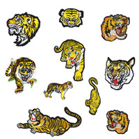 Wholesale Jeans Jackets Wholesale - 10 Kinds of Tiger Embroidered Patches for Clothing Iron on Transfer Applique Patch for Jacket Jeans DIY Sew on Embroidery Badge