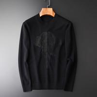 jersey de elefante al por mayor-Suéter de los hombres de Minglu Suéter de bordado de elefante de nueva moda Suéter de cuello redondo de otoño e invierno de los hombres de cuello redondo