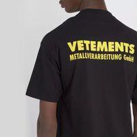 ingrosso stampa vintage t-shirt-18SS Vetements logo giallo stampato Tee vintage tinta unita maniche corte uomo donna estate casual hip hop street skateboard t-shirt HFYMTX167