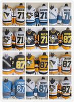 ingrosso luce pinguino-CCM Newest Uomini cuciti Pittsburgh Penguins # 71 MAKLIN / # 87 CROSBY Blu chiaro Bianco Giallo Nero CCM Hockey su ghiaccio Maglie