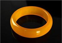 gelbe jade armbänder großhandel-Quarzit Jade gelb Manschette breiten Armreif Armband Charme