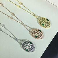 collar de cadena de serpiente mujer al por mayor-Joyería de lujo para las mujeres cabeza de serpiente collares pendientes lleno de oro chapado en oro collar de joyería de la boda cadenas