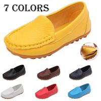 chaussures new age achat en gros de-Nouvelle conception de la mode enfants enfants PU chaussures de bateau en cuir glisser sur des appartements occasionnels chaussures garçons et filles chaussures enfants en bas âge