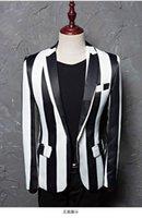 zebrastreifen schlank großhandel-Marke M-5XL Neue Flut Männer Schwarz Weiß Zebra Streifen Blazer Männlichen Bühne Tragen Masculino Slim Fit Mode Lässig Anzug Jacke