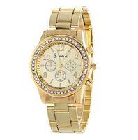 женская мода оптовых-Женщины Женева металл сталь сплава часы мода роскошные дамы платье кварцевый Алмаз аналоговый подарок мужские часы 3 цвета 10 шт.