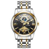 tevise роскошные мужчины оптовых-Tevise  Business Watch Men Moon Phase  Stainless Steel Automatic Mechanical Watch 24 Hour Clock