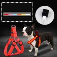 Wholesale led flashing pet dog collar online - Colors Glow Flashing Dog Accessories LED Dogs Harness Collar Night Safety Dog Leash Lead Tools Training Collars Dog Pet Supplies