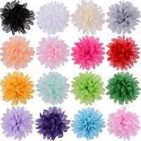 saç tokaları büyük çiçekler toptan satış-Moda Yeni Büyük Şifon Saç Çiçekler Klipleri Olmadan 10 cm Kafa DIY Çiçekler Düz Geri Ücretsiz Kargo