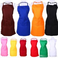 Wholesale free big cook - Multi Color Fashion Apron Solid Color Big Pocket Family Cook Cooking Home Baking Cleaning Tools Bib Baking Art Apron Free DHL XL-433
