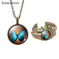 ingrosso braccialetto bronzo cabochon impostazione-LIEBE ENGEL Trendy Casual Set di gioielli in bronzo Butterfly Art Picture Bracciale in vetro cabochon collana di dichiarazione per le donne
