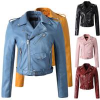 kızlar deri motosiklet ceketleri toptan satış-Kış sonbahar yeni 2017 yeni deri giyim ceket Kadın giyim motosiklet İnce moda deri ceket kadın kızlar sarı mont