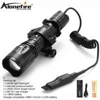 Wholesale xm l2 - AloneFire TK400 Tactical light cree xml L2 led hunting flashlight zoom torch Mount Pressure Switch for Hunting 1 x 18650 battery