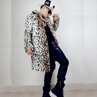 Wholesale Leopard Print Faux Fur Coats - Winter thicken thermal leopard print leather jacket men casual mens faux fur coats lovers design fashion fur overcoat fashion