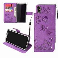 Wholesale iphone 5s case wallet online – custom For Iphone XR XS MAX X SE S Bling Diamond Flower Leather Wallet Case Galaxy Note S10 S9 Butterfly Card Slot Flip Cover