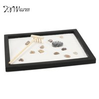 Wholesale zen home decor - Kiwarm Zen Garden Sand Kit Tabletop Yoga Meditation Sand Rocks Rake Feng Shui Decor Home Ornament Crafts