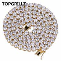 out оптовых-весь saleTOPGRILLZ хип-хоп все замороженные ожерелье 1 строка микро проложить CZ камни теннис цепи ожерелья Для мужчин женщин 20