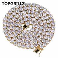 """Wholesale ice stone necklace - whole saleTOPGRILLZ Hip Hop All Iced Out Necklace 1 Row Micro Pave CZ Stones Tennis Chain Necklaces For Men & Women 20"""",24"""",30"""""""