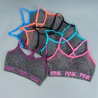 Wholesale run shirts - New Love Pink Letter Bra Running Sports Shirt Yoga Gym Vest Push Up Fitness Top Sexy underwear Women Crop Top Shakeproof Strap Bra