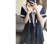 Wholesale japan dresses sleeves online - Lace Peter Collar Ribbon Tie Bow Kawaii Japan Anime Cospaly Uniform Sailor Lolita Girl Loose Dress Korean College Princess Maid