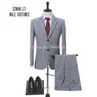 terno cinza trajes venda por atacado-Traje Homme Terno Masculino Smoking Cinza Claro Slim Fit Homens Ternos De Negócio Mais Recentes Ternos De Casamento Do Projeto para Homens (Jaqueta + Calça)