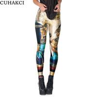 impressão digital leggins venda por atacado-CUHAKCI Vintage Cleopatra Leggings Digital Impresso Sexy Mulheres Legging Plus Size Egito Faraó Padrão Leggins K154
