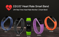Wholesale mobile heart rate monitor - In 2018, Fitbit smart watch ID107 bluetooth 4.0 smart hand ring heart rate monitor fitness tracker used in Android IOS 7.1 mobile phone
