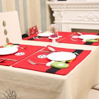 ingrosso cena da tavola-Nuovo disegno 2pcs 40 * 30cm I titolari Argenteria tovagliette Decorazioni di Natale Per la casa Dinner Table Decor Capodanno Home Decor