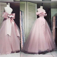 Wholesale beautiful art deco online - 2018 Cheap Sweetheart A Line Prom dresses off shoulder sleeve Bow Satin Tulle Pink Tiers Sexy Beautiful formal Evening Dress gown