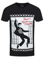 ventes de noël achat en gros de-La mode des hommes 2018 Elvis Presley ont un Rockin 'Xmas T-shirt noir des hommes d'été Vente Chaude Nouveau Tee Imprimer Hommes T-Shirt Top
