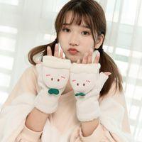 grüne halbe fingerhandschuhe großhandel-Winter Mädchen Half Finger Flip Handschuhe Niedlichen Cartoon Green Shoot Finger Verdickung Plus Samt Warme Handschuhe